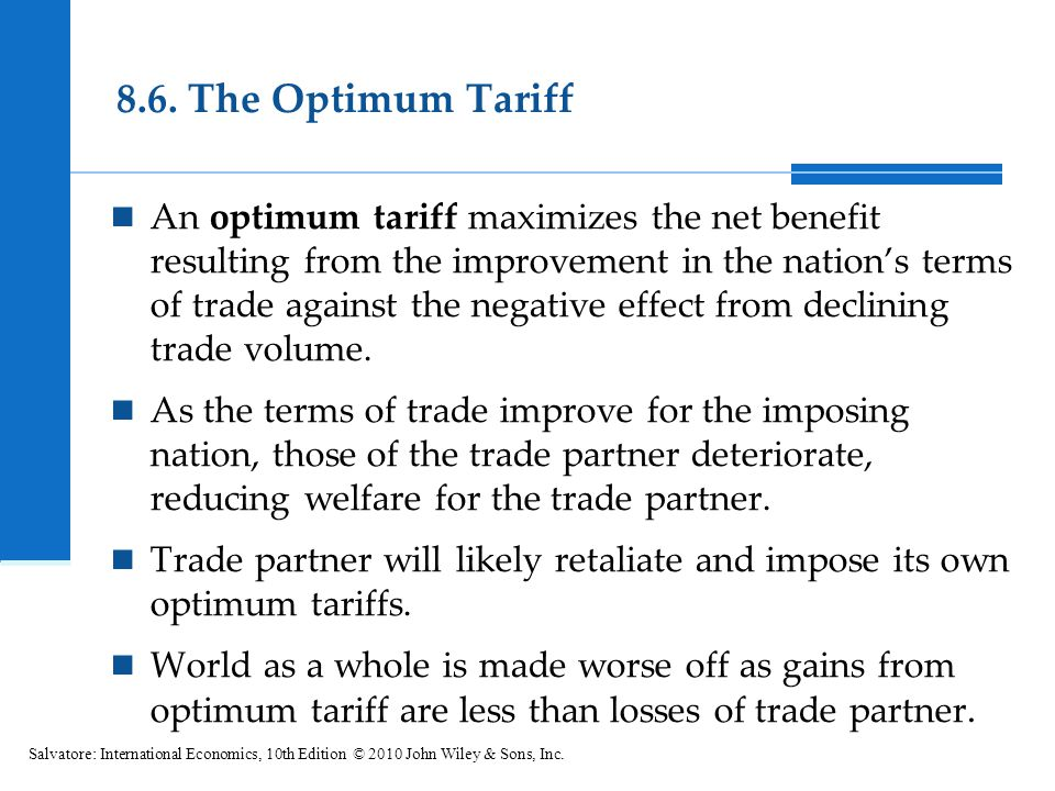 8.6. The Optimum Tariff