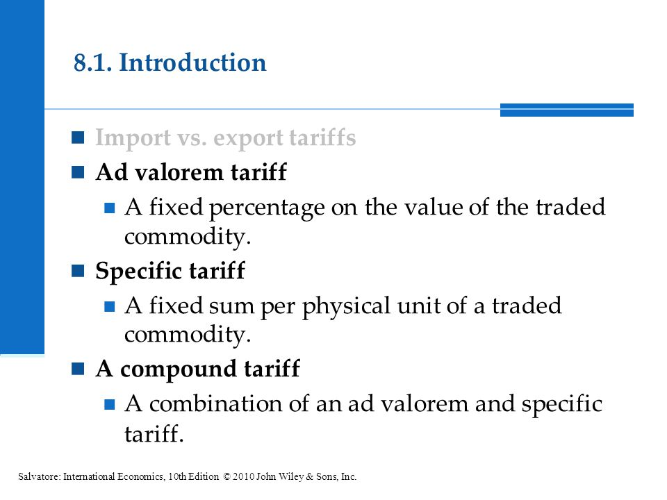 8.1. Introduction Import vs. export tariffs Ad valorem tariff