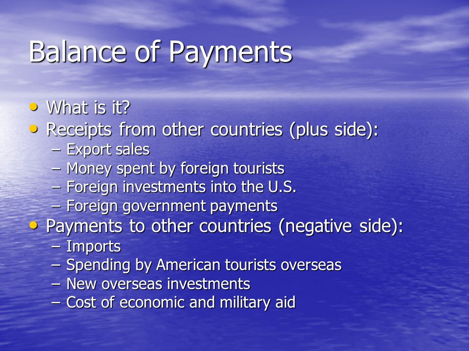 Balance of Payments What is it