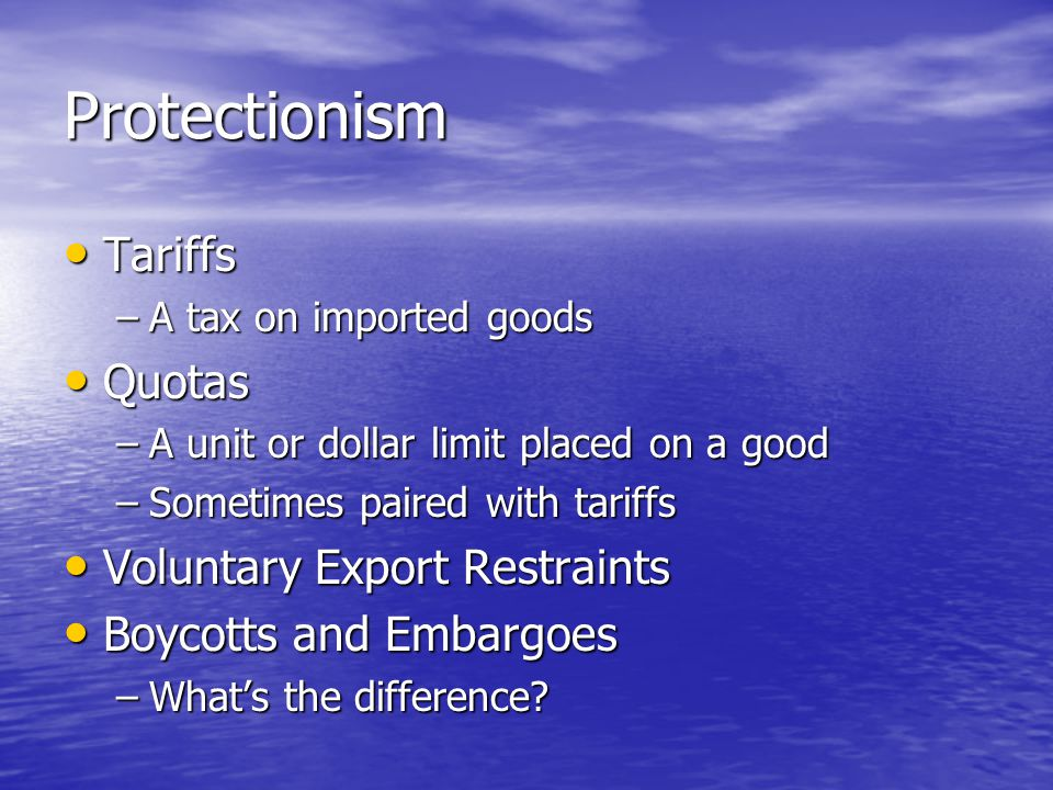 Protectionism Tariffs Quotas Voluntary Export Restraints