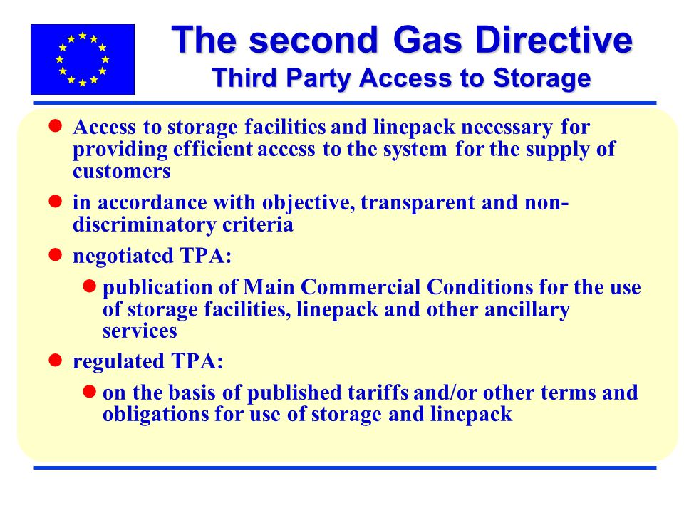 The second Gas Directive Third Party Access to Storage