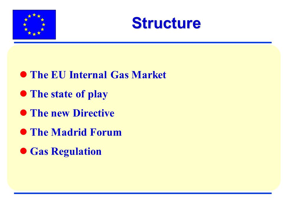Structure The EU Internal Gas Market The state of play