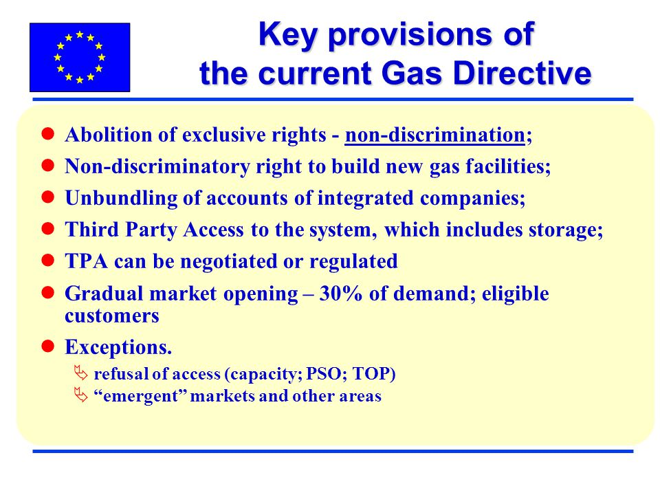 Key provisions of the current Gas Directive