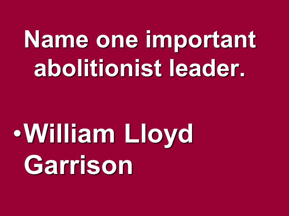 Name one important abolitionist leader.
