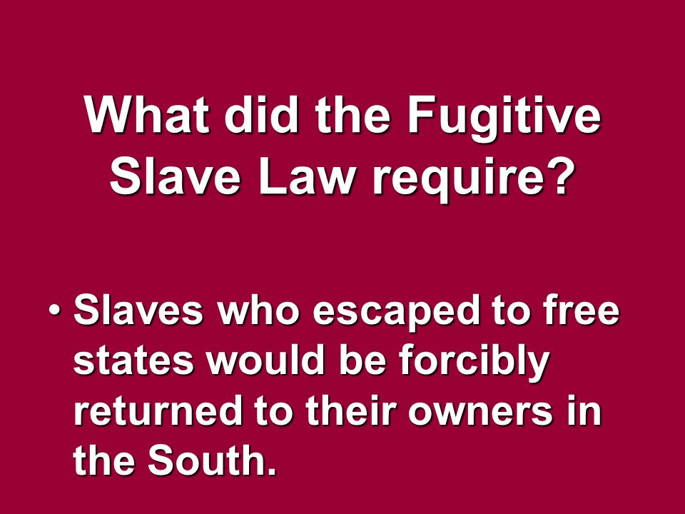 What did the Fugitive Slave Law require