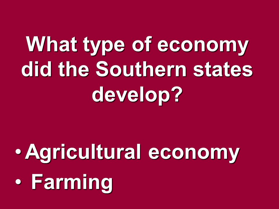 What type of economy did the Southern states develop