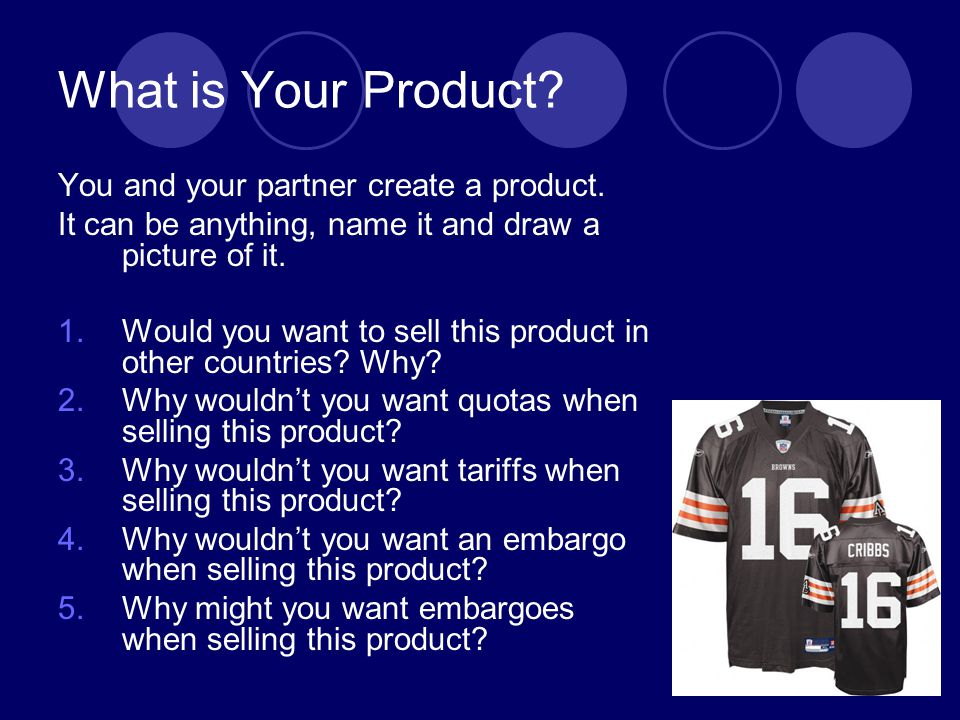 What is Your Product You and your partner create a product.