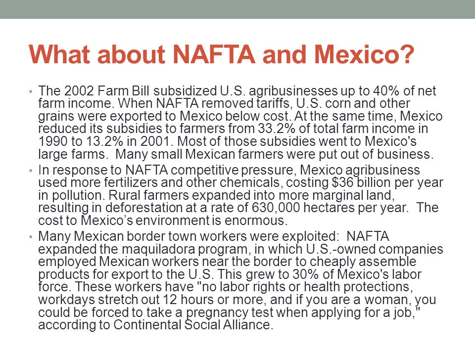 What about NAFTA and Mexico
