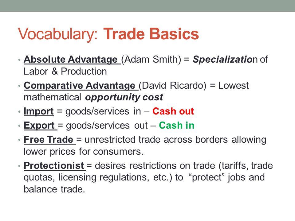 Vocabulary: Trade Basics
