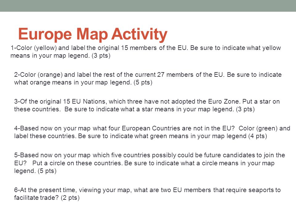 Europe Map Activity