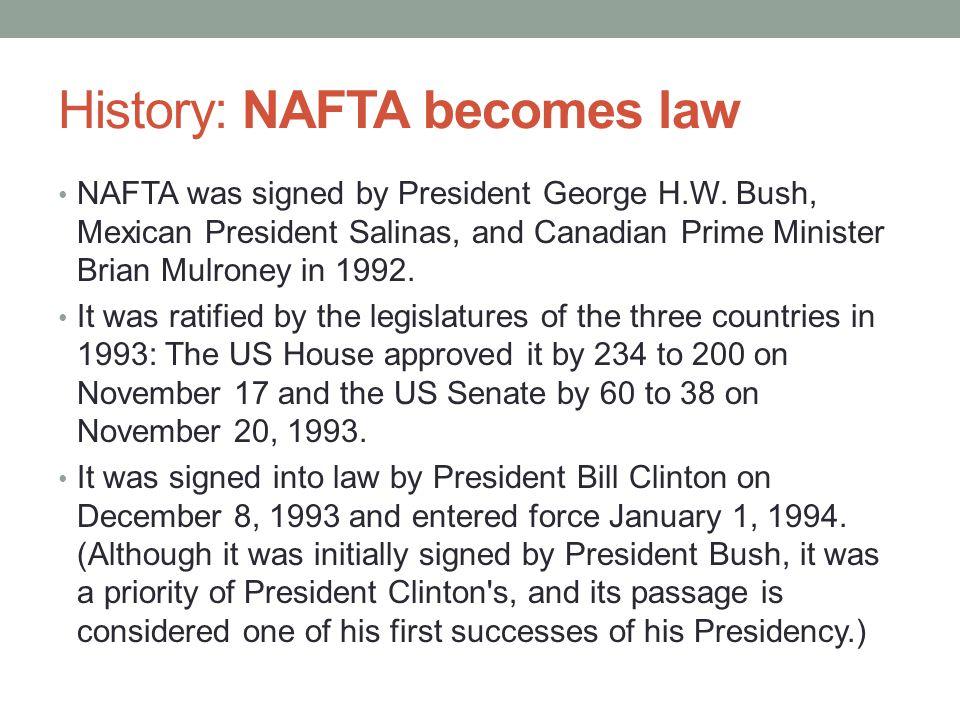 History: NAFTA becomes law