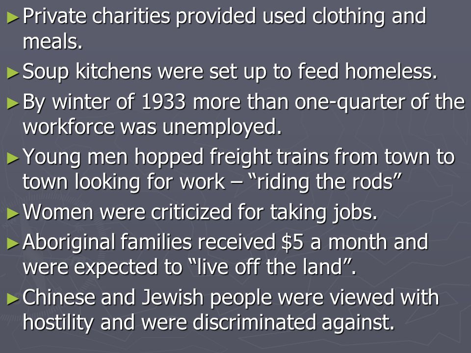 Private charities provided used clothing and meals.