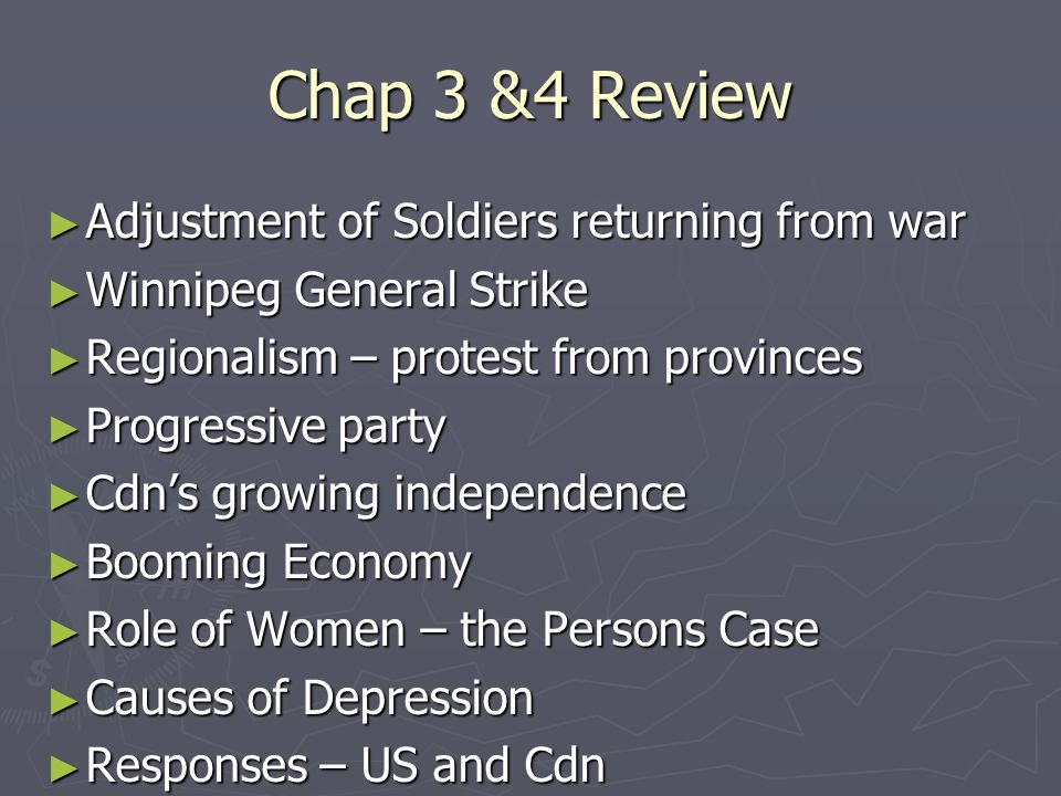 Chap 3 &4 Review Adjustment of Soldiers returning from war