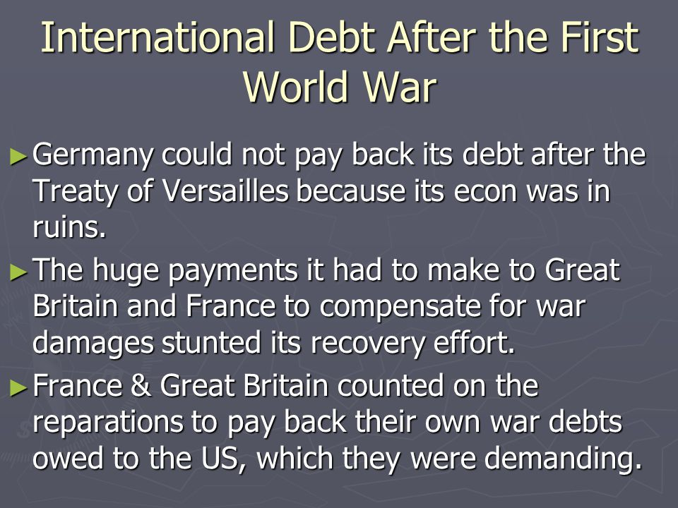 International Debt After the First World War