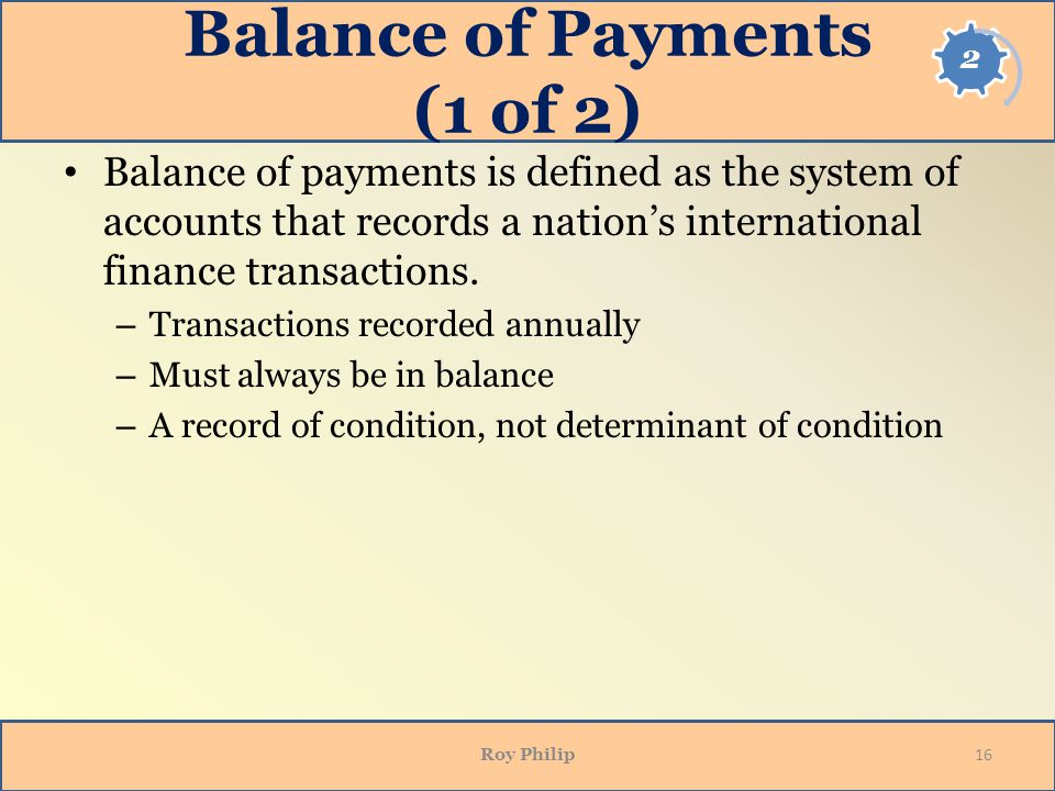 Balance of Payments (1 of 2)