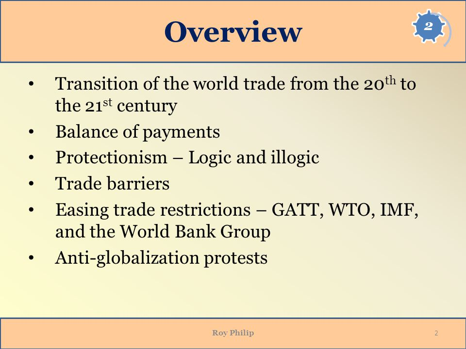 Opening Side Overview. Transition of the world trade from the 20th to the 21st century. Balance of payments.