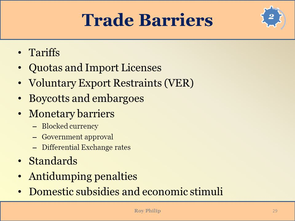 Trade Barriers Tariffs Quotas and Import Licenses