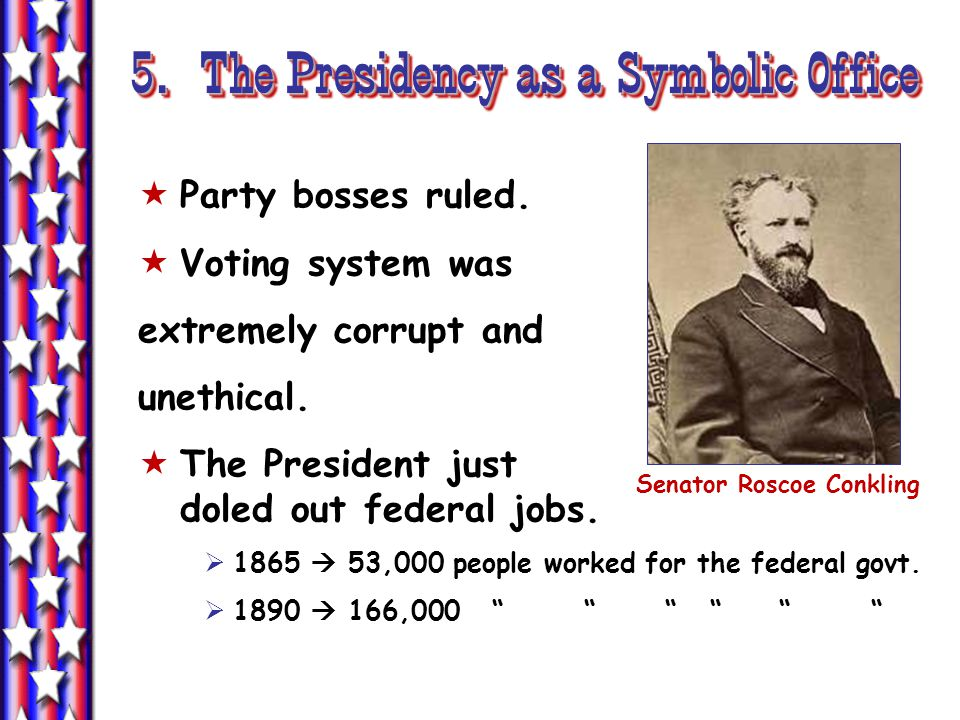 5. The Presidency as a Symbolic Office Senator Roscoe Conkling