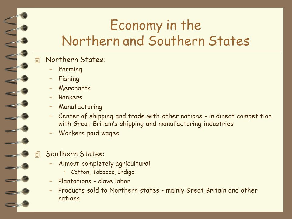 Economy in the Northern and Southern States