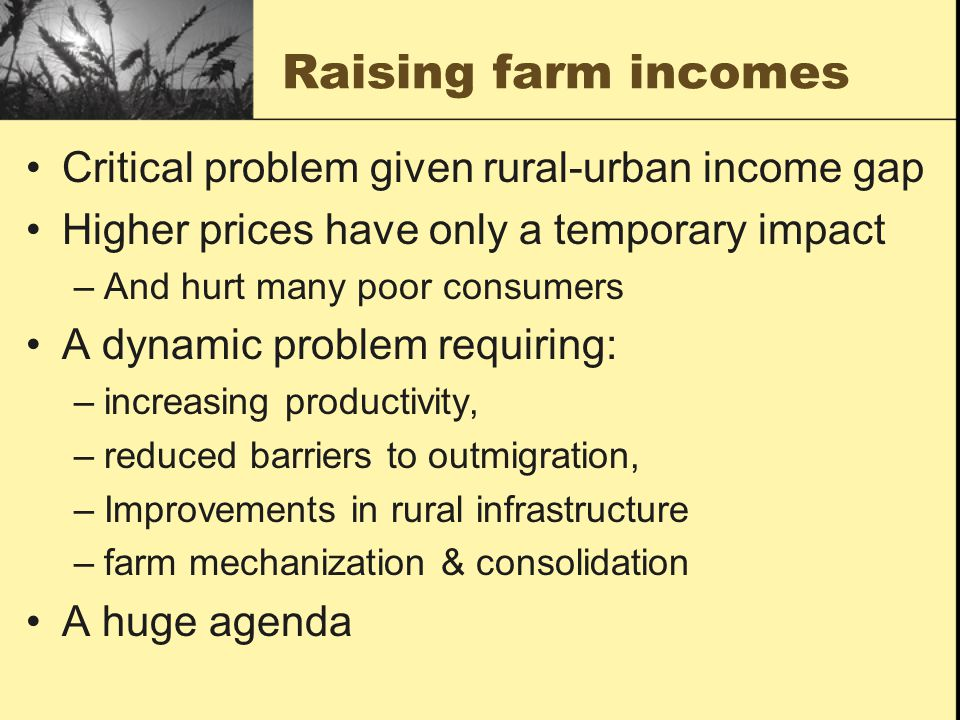 Raising farm incomes Critical problem given rural-urban income gap