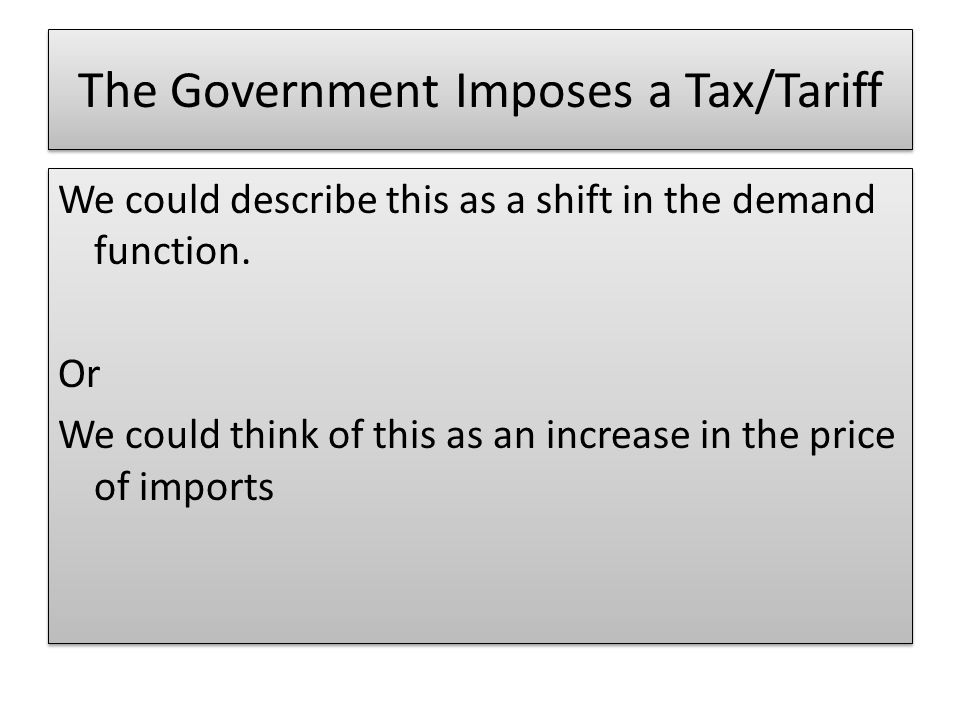 The Government Imposes a Tax/Tariff