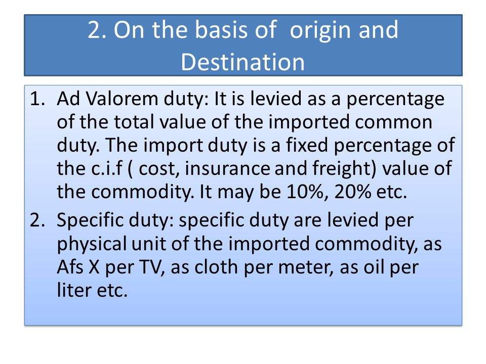 2. On the basis of origin and Destination