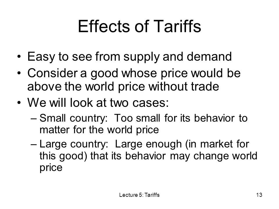 Effects of Tariffs Easy to see from supply and demand
