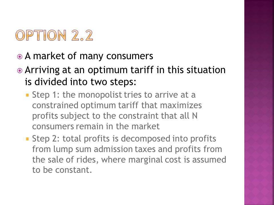 Option 2.2 A market of many consumers