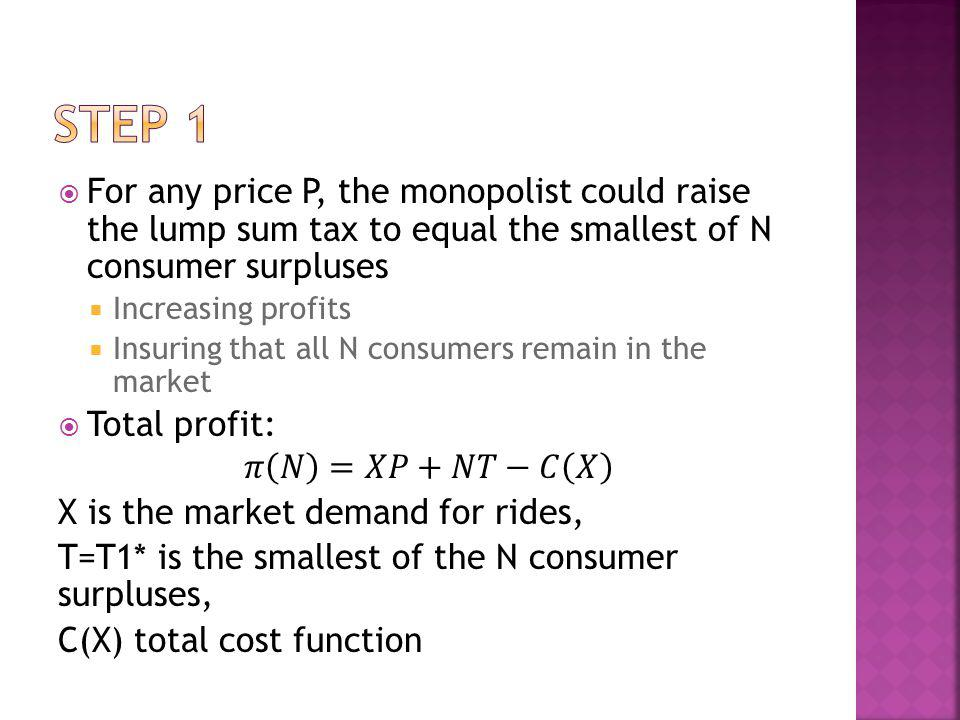 Step 1 For any price P, the monopolist could raise the lump sum tax to equal the smallest of N consumer surpluses.