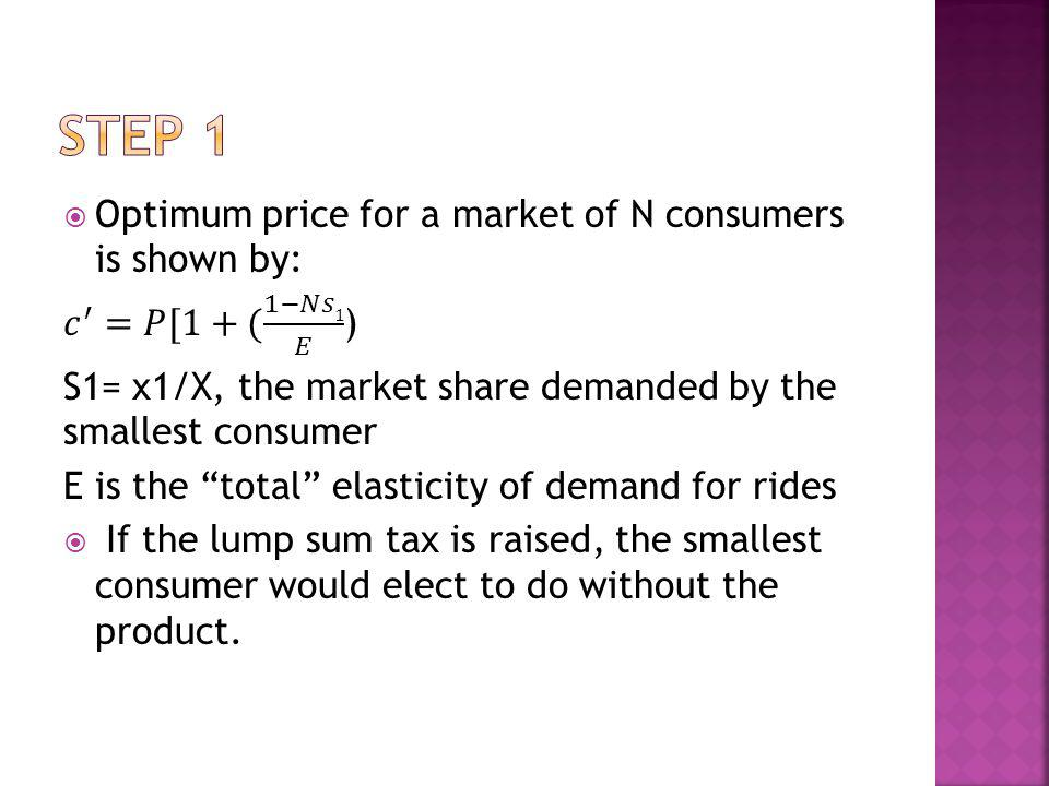 Step 1 Optimum price for a market of N consumers is shown by: