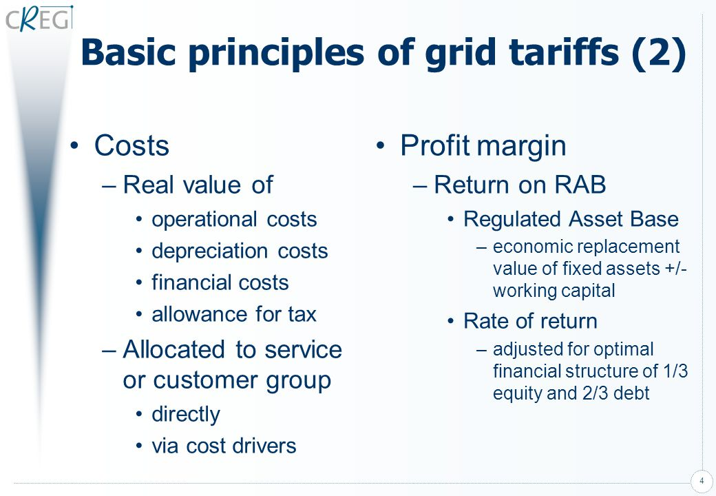 Basic principles of grid tariffs (2)