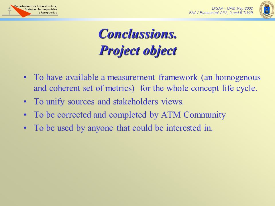 Conclussions. Project object