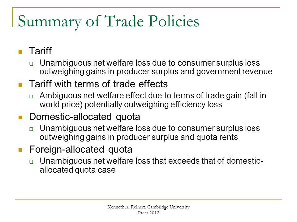 Summary of Trade Policies