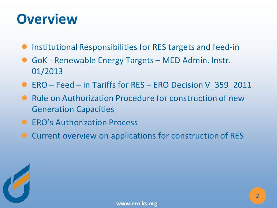 Overview Institutional Responsibilities for RES targets and feed-in