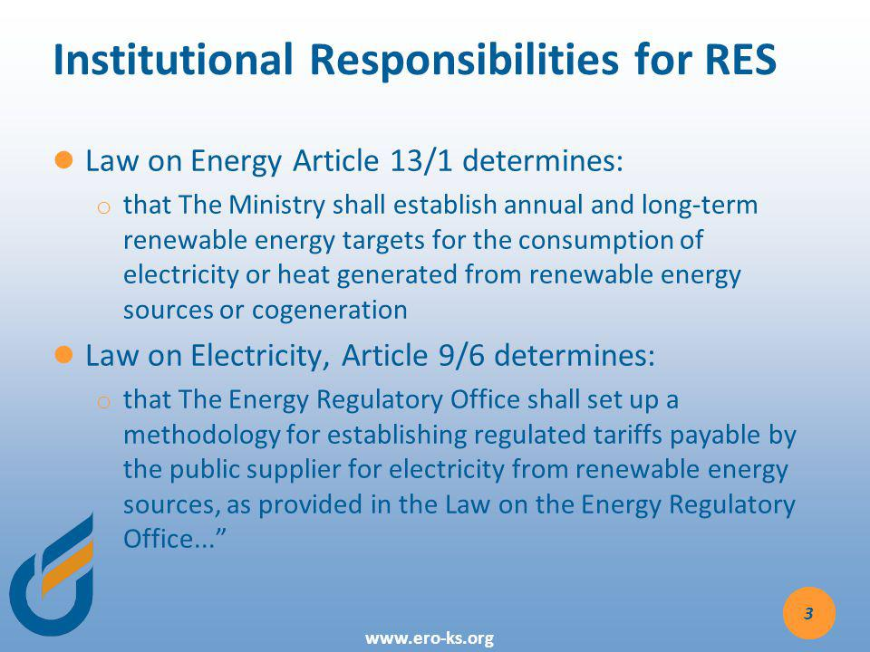 Institutional Responsibilities for RES
