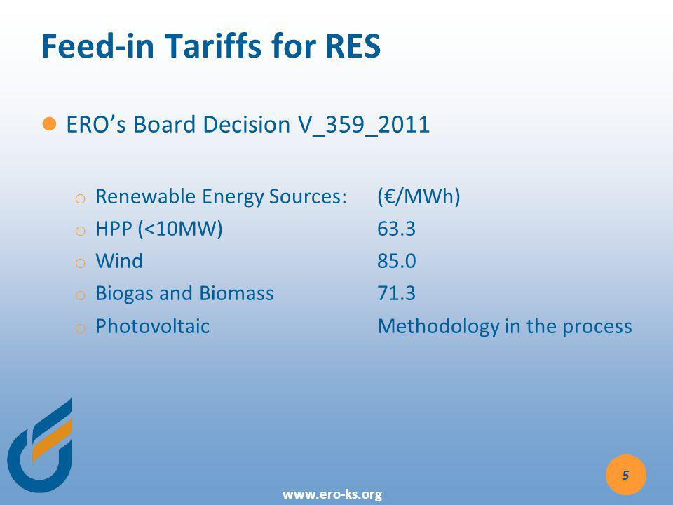 Feed-in Tariffs for RES