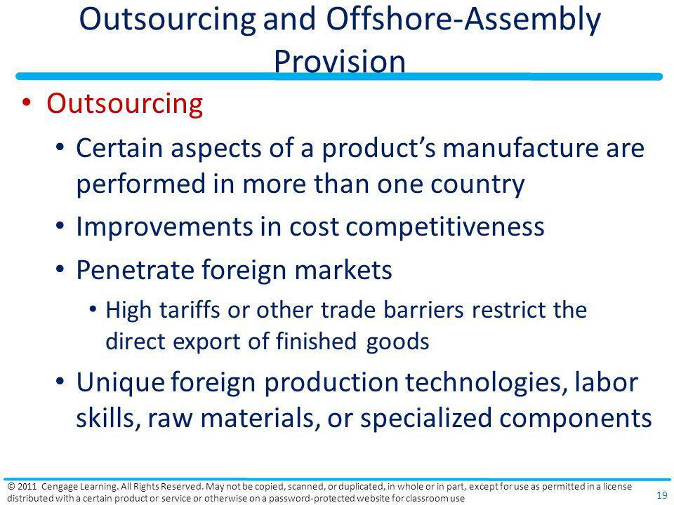 Outsourcing and Offshore-Assembly Provision
