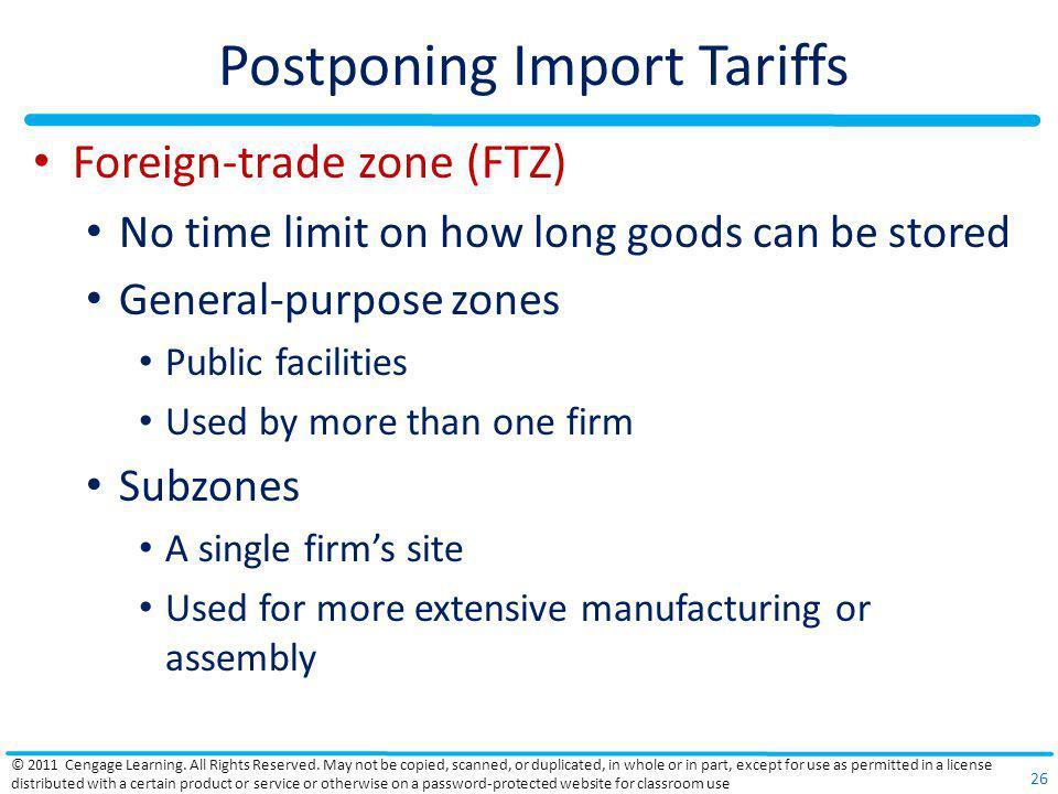 Postponing Import Tariffs