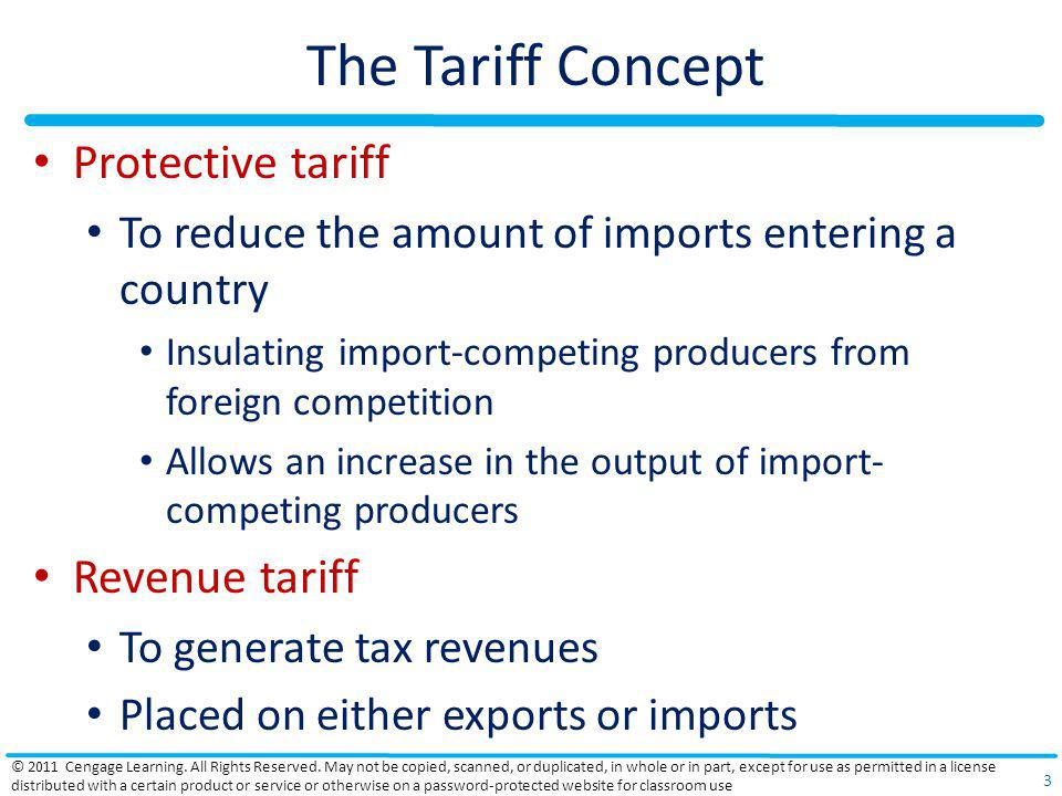 The Tariff Concept Protective tariff Revenue tariff