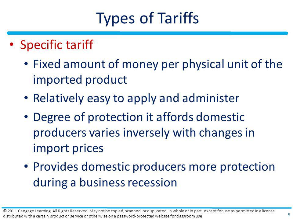 Types of Tariffs Specific tariff