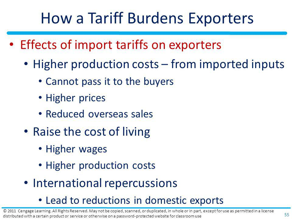 How a Tariff Burdens Exporters