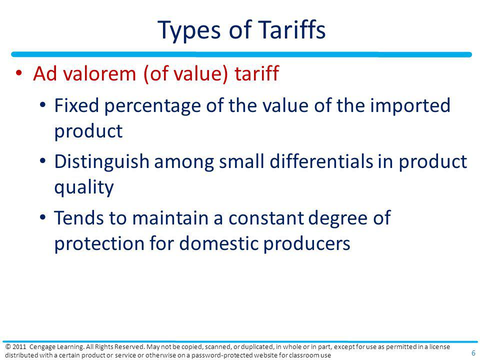 Types of Tariffs Ad valorem (of value) tariff