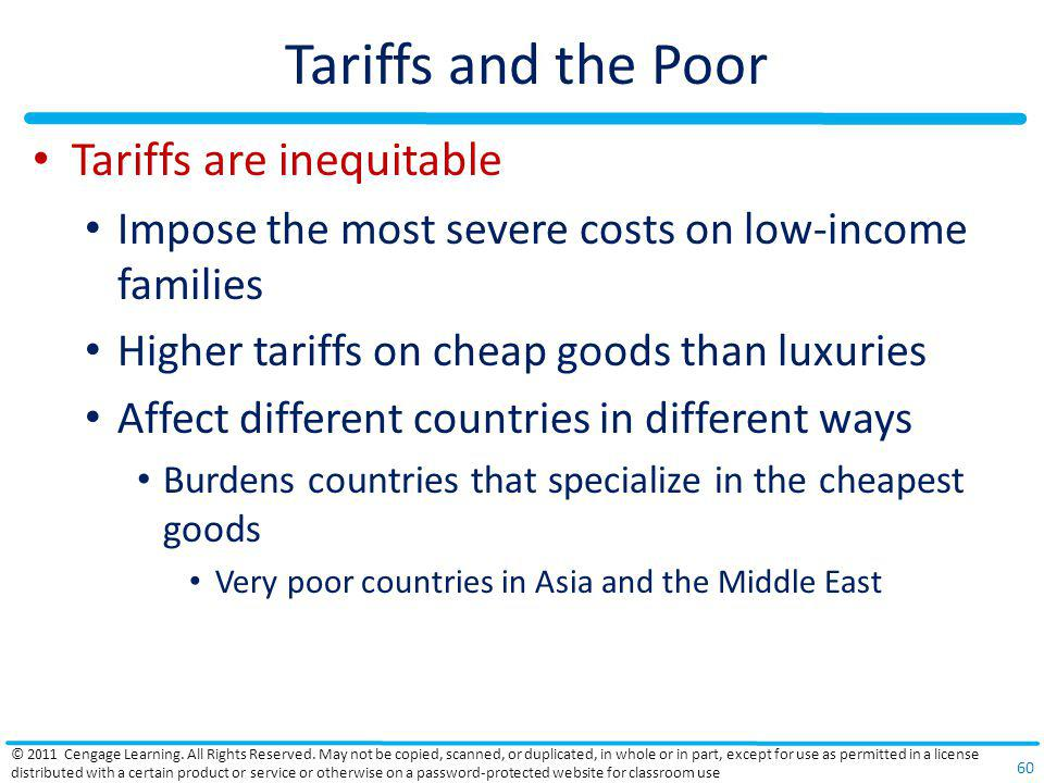 Tariffs and the Poor Tariffs are inequitable