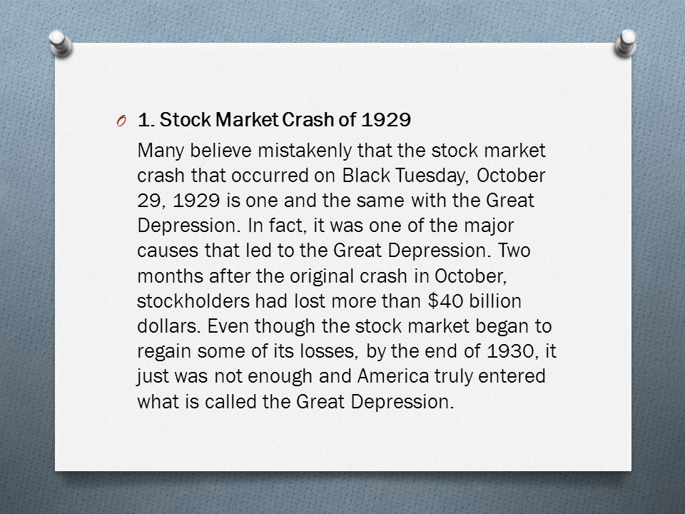 stock market crash of 1929 essay Causes of the Stock Market Crash of 1929 Essay