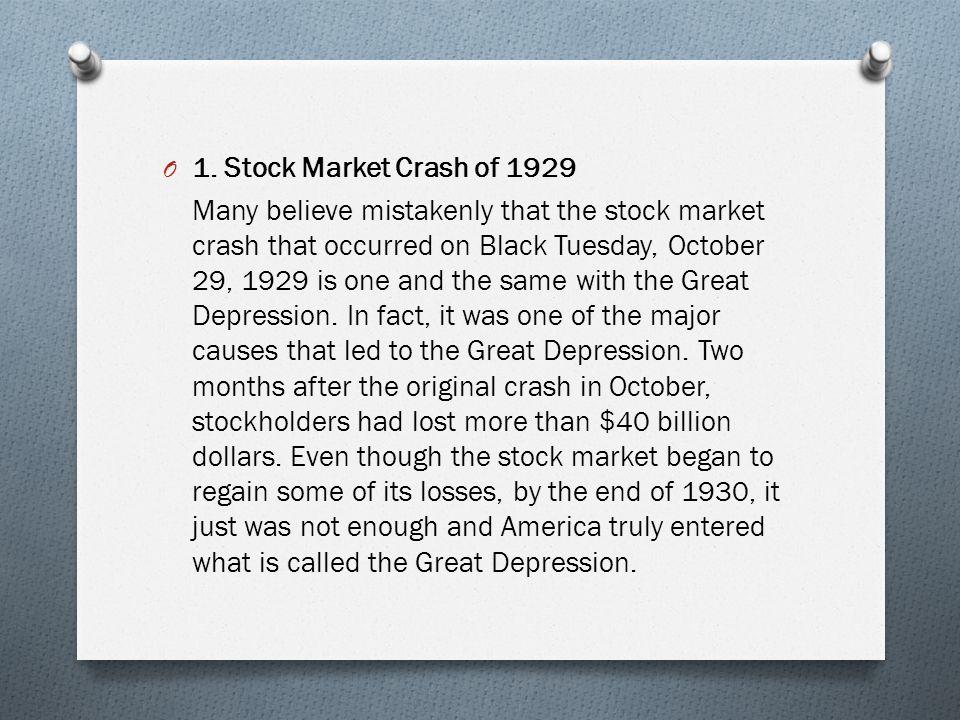 1. Stock Market Crash of 1929