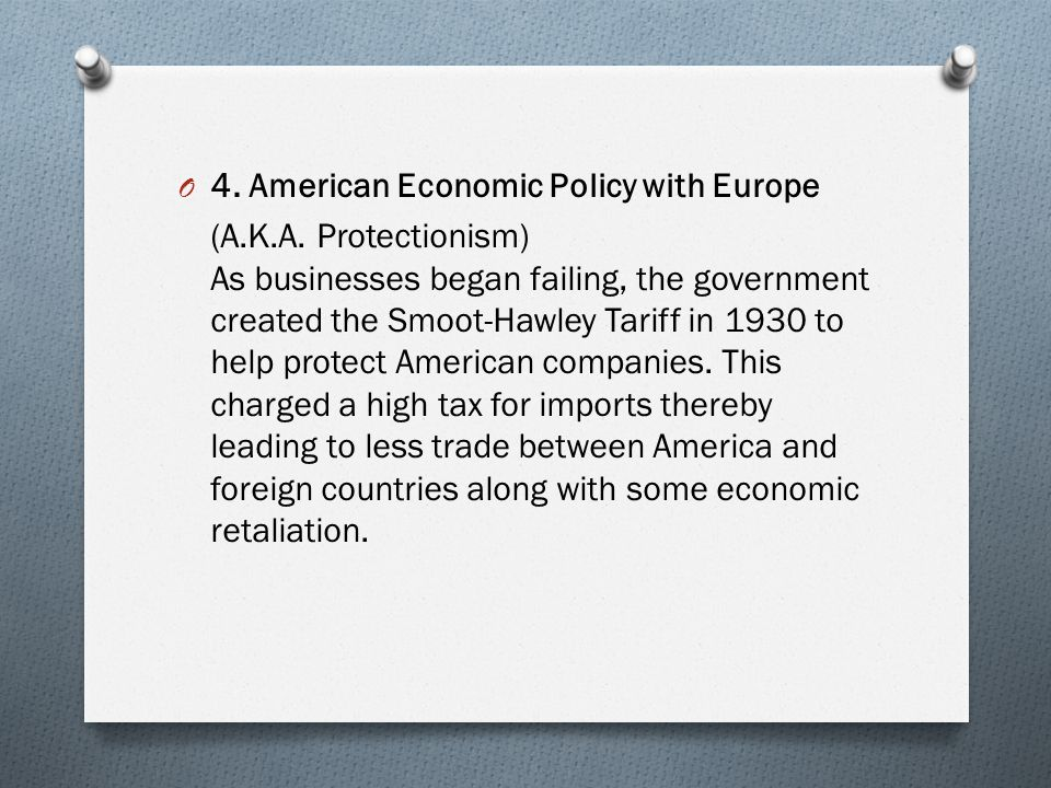 4. American Economic Policy with Europe