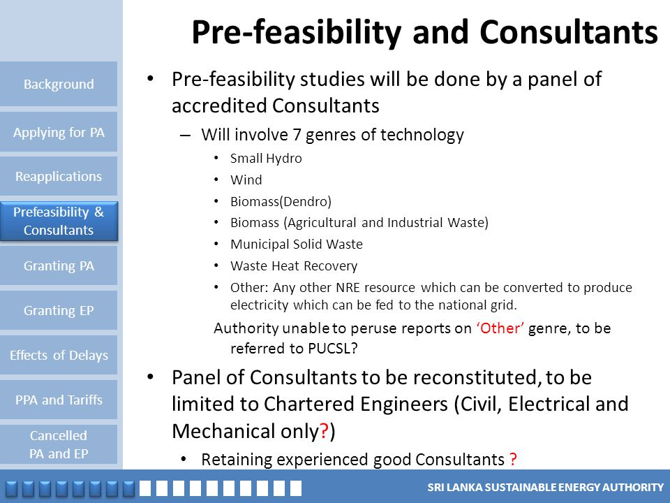 Pre-feasibility and Consultants