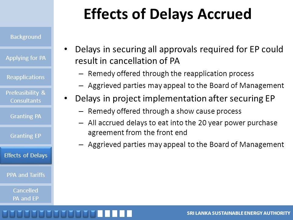 Effects of Delays Accrued