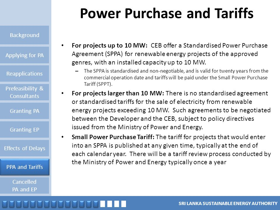 Power Purchase and Tariffs