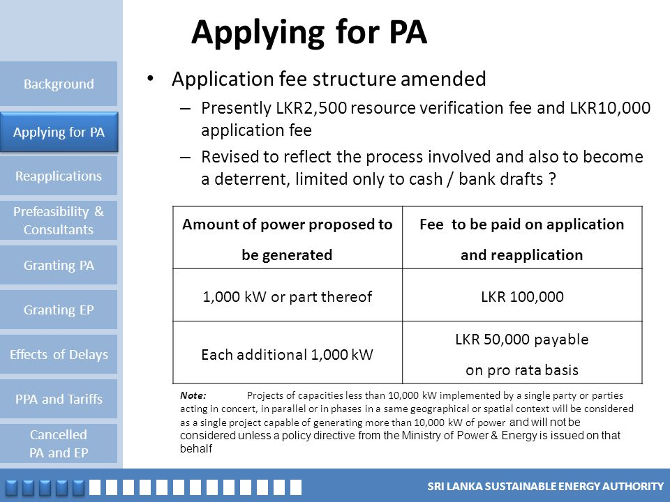 Applying for PA Application fee structure amended
